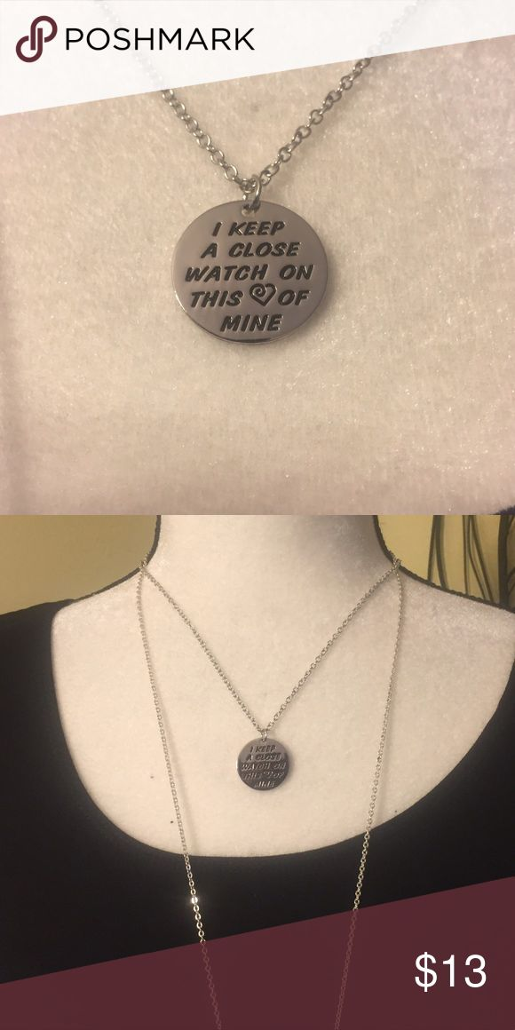 """Johnny Cash Necklace Silver fashion necklace with the hand stamp  """"I keep a close watch on this ❤️ of mine"""". Pendant size is 2.2 cm and chain is 45 cm. Jewelry Necklaces"""