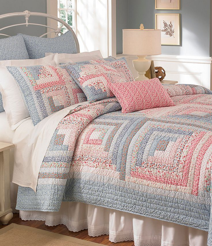 """Low volume log cabin quilt - 6 logs per side! Love the colours. Beautiful....but downsize the logs to 1""""."""