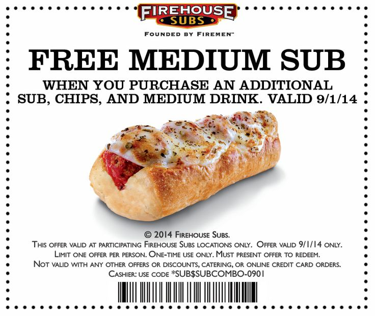 Pinned August 26th: Second sub #FREE with your meal Monday at Firehouse Subs #coupon via The #Coupons App