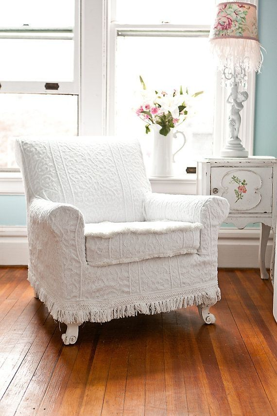 shabby recliner chair | antique chair white vintage matelasse bedspread shabby chic cottage ... by oldrose