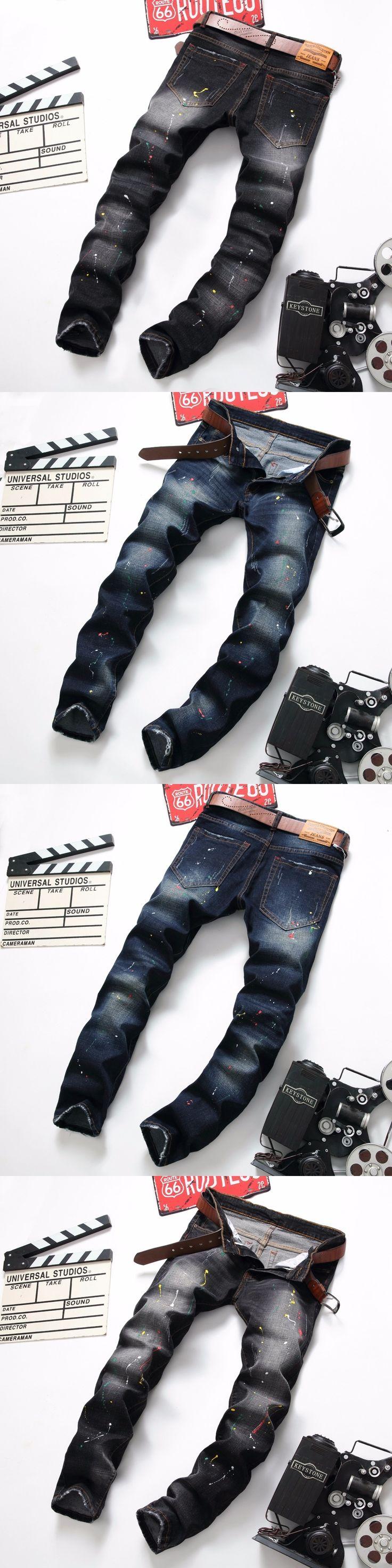Newsosoo Harajuku Classic Jeans Men Biker Moto Jeans Slim Fit Splashed Ink Denim Blue Black Hip Hop Streetwear Rap Pants mens