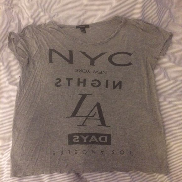 Grey shrug short sleeve top - grey NYC Really comfy NYC logo shirt - some of the writing is backwards. Forever 21 Tops Tees - Short Sleeve