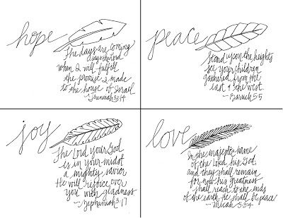 Advent: Sunday Scripture Doodles- Printable prayer cards for the four Sundays of Advent