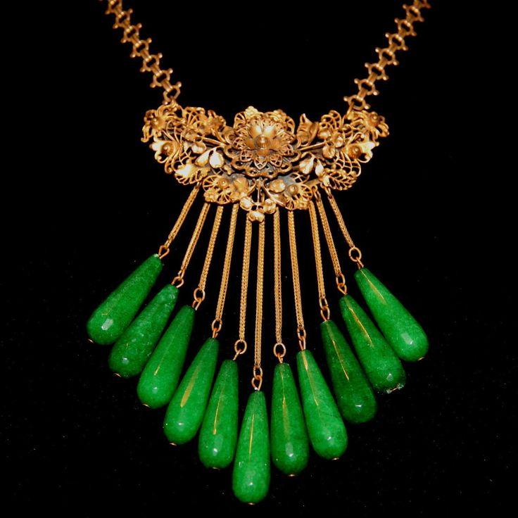 Fabulous Vintage Art Nouveau Venetian Art Glass Necklace Peking Glass Fringe Necklace
