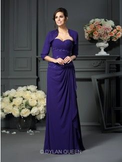 A-line/Princess Sweetheart Sleeveless Beading Floor-length Chiffon Mother of the Bride Dresses
