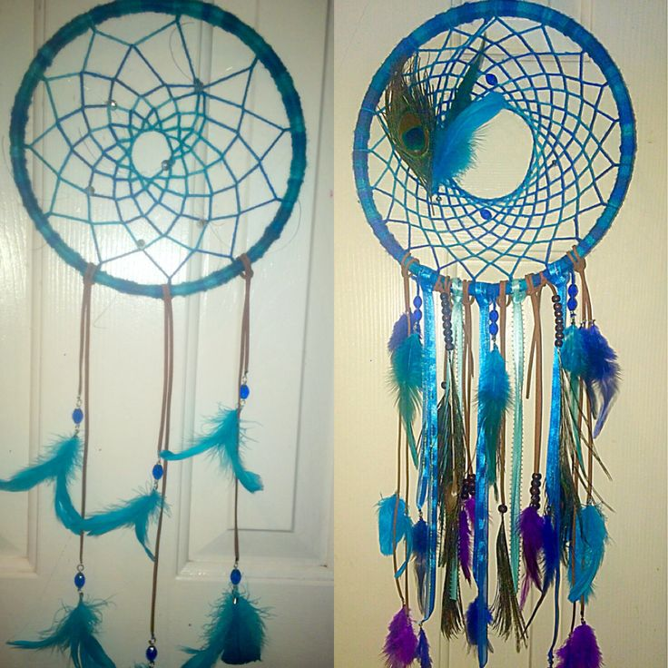 """10"""" peacock dream catchers by JGDreams $50 for the left and $70 for the right"""