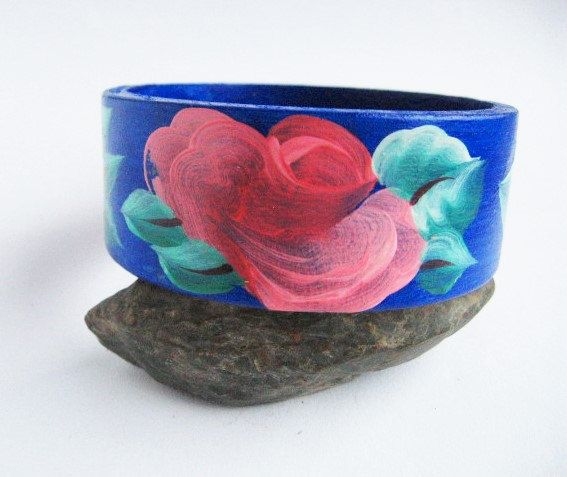 Hand-painted wood bracelet FLOWERS beautiful DARK BLUE green and red Ecological by MaryankaShop on Etsy