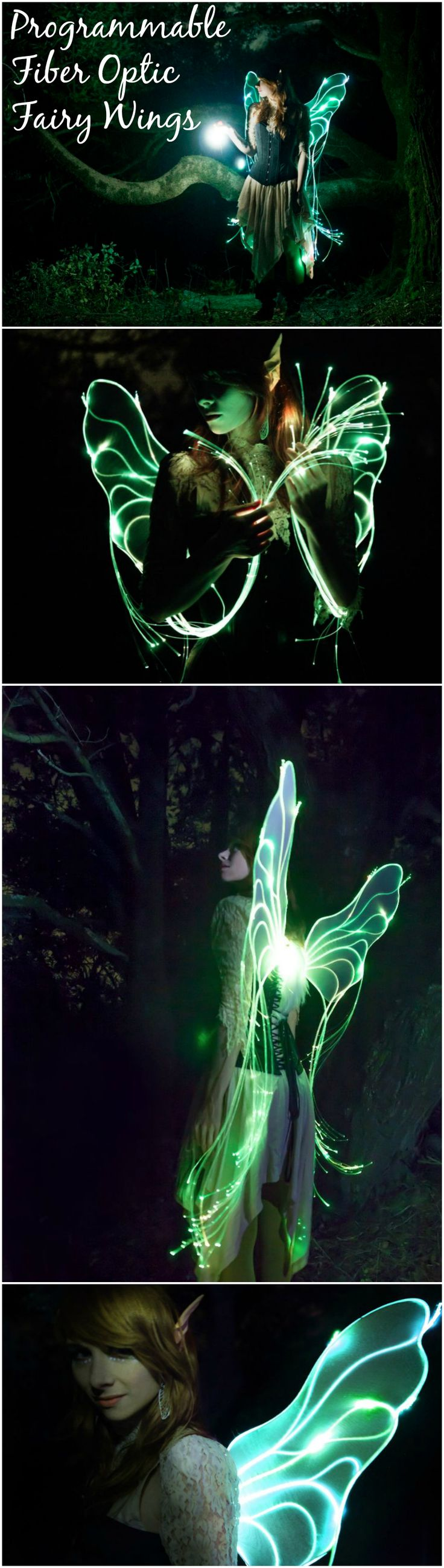 Programmable Fiber Optic Fairy Wings Déguisement femme - elfe - fée - ailes lumineuses - conte de fée - robe - halloween - carnaval - fête - anniversaire - birthday - party cosplay