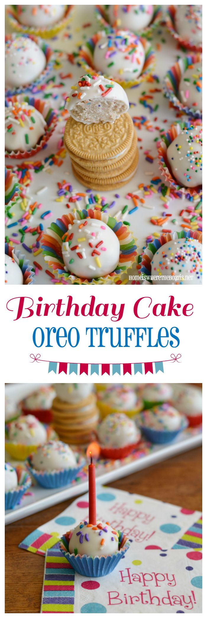 Birthday Cake Oreo Truffles! No-bake treats that are a piece of cake to make! | homeiswheretheboatis.net