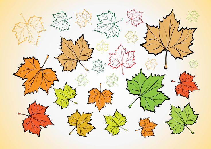 Осенние листья векторные кадры набор с Иллюстратором графика рисунки кленовых листьев разных цветов для осень, лес, леса, природа, Времена года, погода и климат дизайн темы. Скачать коллекция векторных искусства красивая красочные осенние иллюстрации лист на лучезарном фоне. Вектор материала VectorLib.com