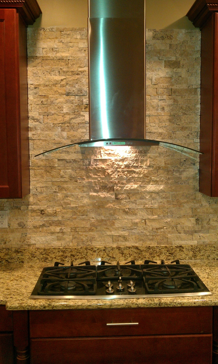 My Husbands Handy Work On Our Stone Back Splash DIY And Crafts Kitchen Decor House Tiles