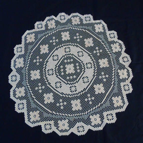 Doily Scaffold Weaving Oval Tablecloth Ecru Beige Color Netted