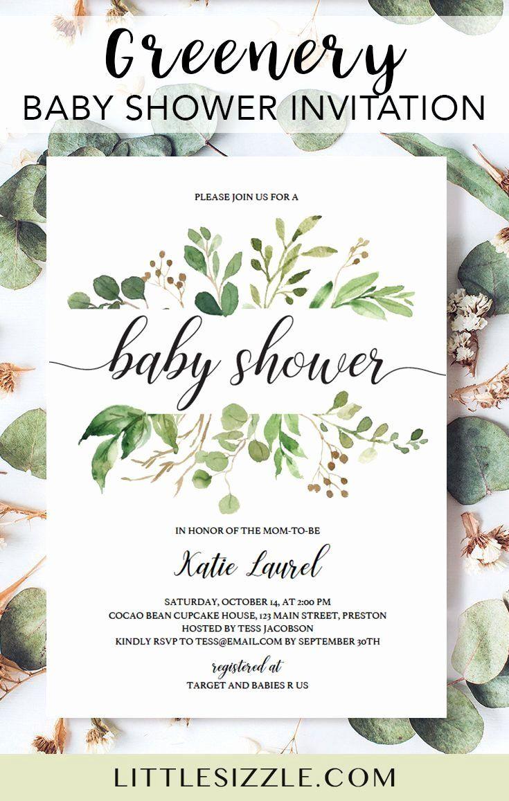 Diy Baby Shower Invitations Templates New Green Leaf Template For Baby Show Baby Sprinkle Invitations Baby Shower Invitations Diy Green Baby Shower Invitations