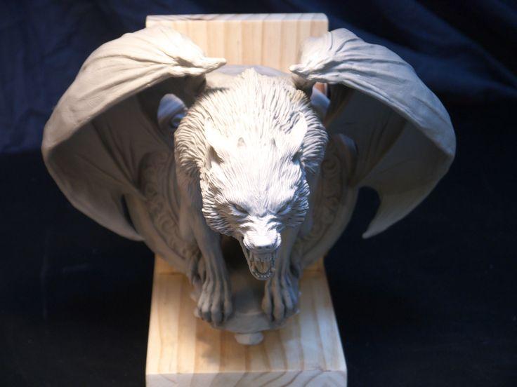 top view of werewolf gargoyle sculpture, by Brent Larsen of Kustom Design Studio