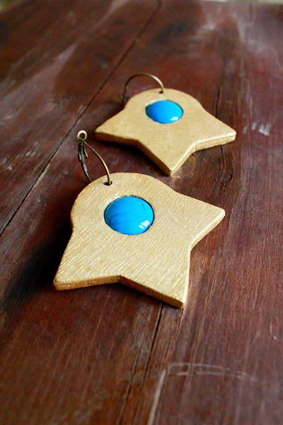 Light lapis lazuli earrings wooden earrings tribal by TACEHandmade