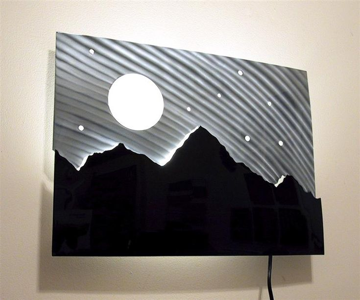 Lighted Modern Metal Wall Art Sculpture   Mountain Design, Gloss Black And  Stainless Part 60