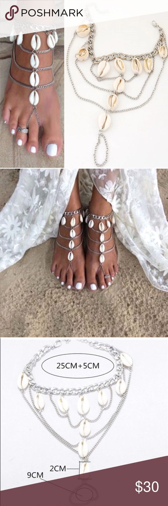 Shell Barefoot Wedding Sandals Foot Jewelry Pair A lovely pair of Bohemian silver barefoot sandal with layers of shell and chain embellishment.  Perfect boho body jewelry for those warm boho summer beach days or beach weddings!  This listing is for a pair.  See our other styles too!   We ship fast with a free NWT gift!   (G2) Jewelry #fastweddingplanning