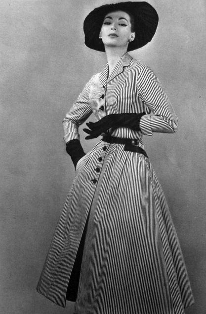 Pin stripes.  1956 La Femme Chic  Photograhper Pierre Balmain