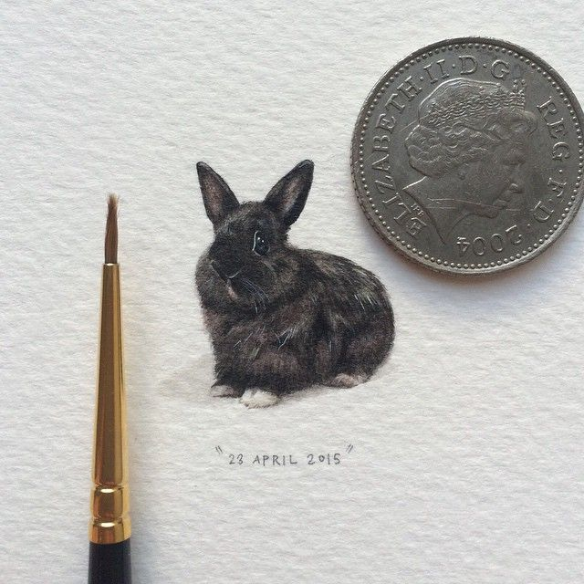 Painting for Ants - Matisse die hasie/ Matisse the rabbit 20 x 24 mm. Miniature watercolour bunny.