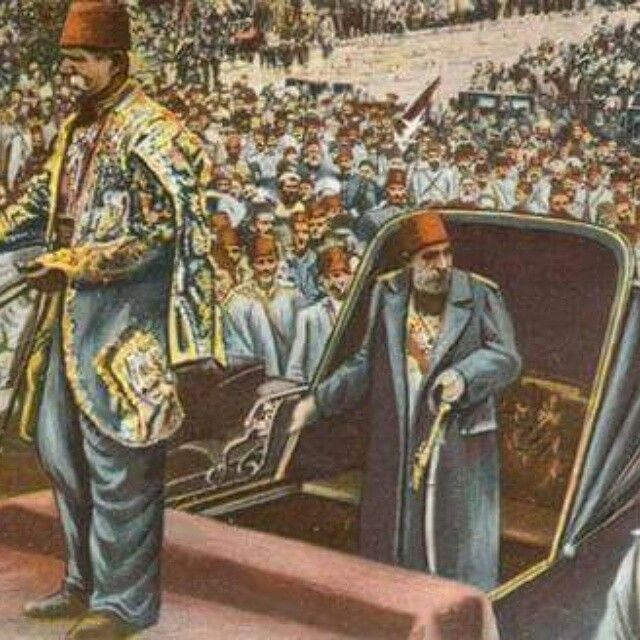 Sultan Abdülhamid II (1876-1909) during an official ceremony.  Late-Ottoman, c. 1905.
