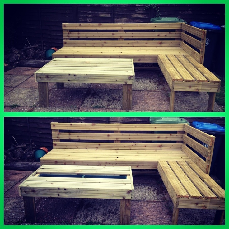 DIY Outdoor Living Room. Built In Coolers On The Table. The Cushions Couldnu0027 Part 79
