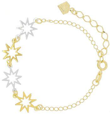 Pulseira folheada a ouro c/ adereços em forma de estrela c/ detalhes folheados a prata