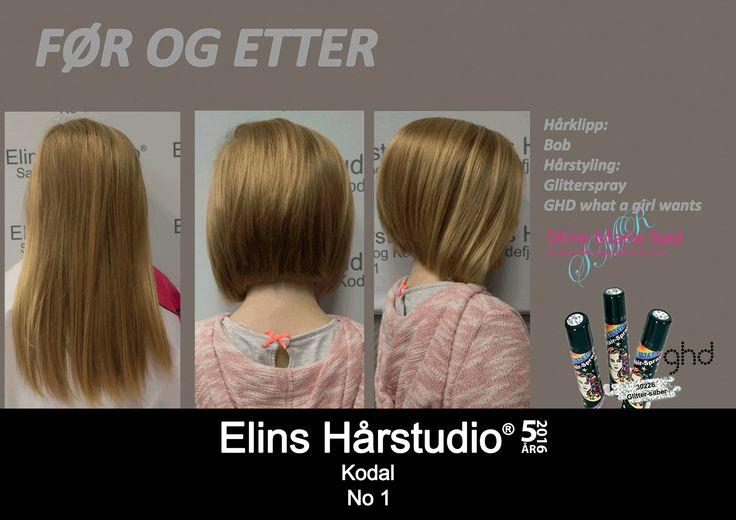Barneklipp fra langt hår til kort bob