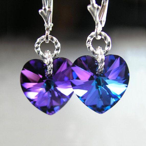Purple Heart Earrings Sterling Silver Swarovski Cobalt Iris Blue Violet Purple Crystal Heart Drop Earrings