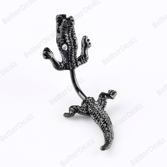 Punk Black Metal Crocodile Belly Navel Ring Stud Stainless Steel Piercing