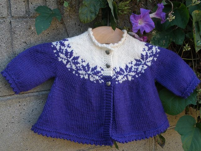 Ravelry: First Flower Baby Cardigan pattern by Gina Wilde