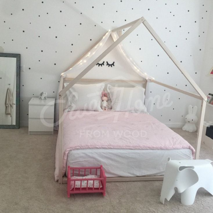 Wooden House Bed Frame Platform Bed Teepee Bed Wood Bed Etsy Toddler Bed Frame House Frame Bed Bed Tent