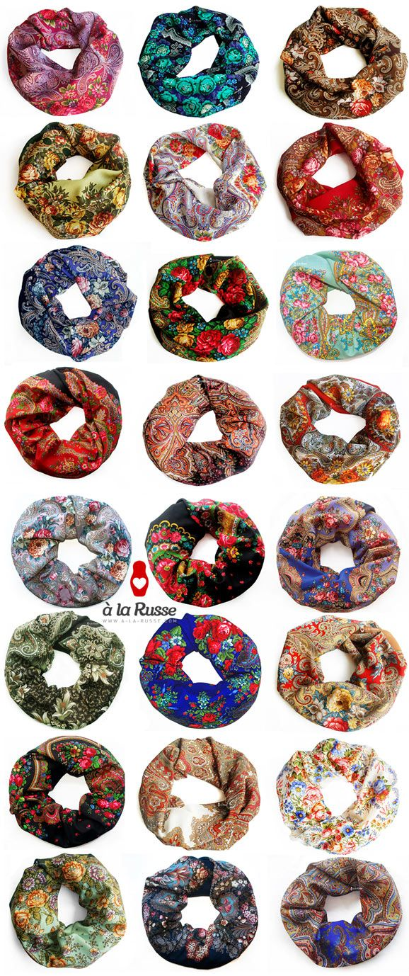 Russian scarves - Russian shawls - Russische Tücher - Floral pattern - Colorfull flowers - Floral scarf