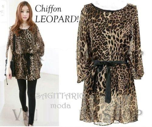 Top leopardo kaftan blusa chiffon maxi top tunica pipistrello stampa animalier
