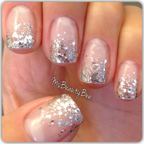 Nails Gelish & Konad  / Dripping in Diamonds  Elegant silver glitter gradient nails. Colors used: Gelish - Little Princess Gel Polish & Essie Set In Stones Glitter Polish.