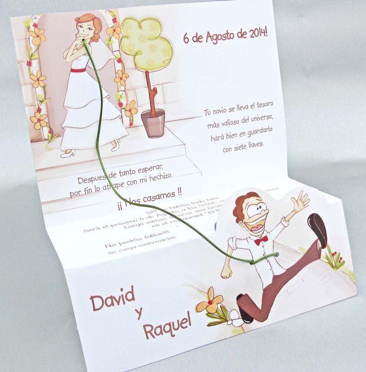 Invitación novia atrapa a novio #invitaciones de boda #detalles de boda