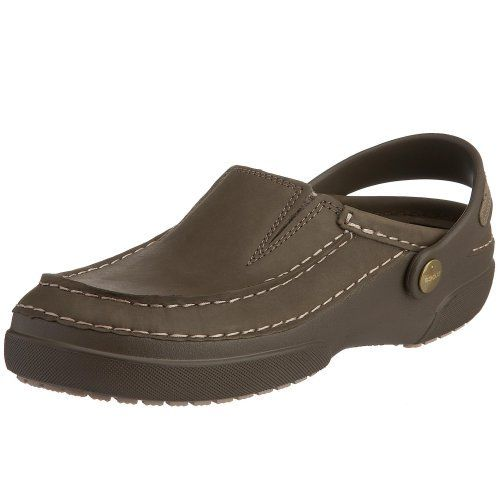 Crocs Men's Mesa Clog crocs. $59.95. Rubber sole. Croslite and oiled nubuck. Available in whole sizes and medium width only