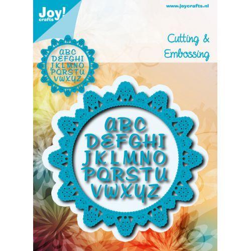 6002/0929 Noor! Design Blauwe doilie met alfabet