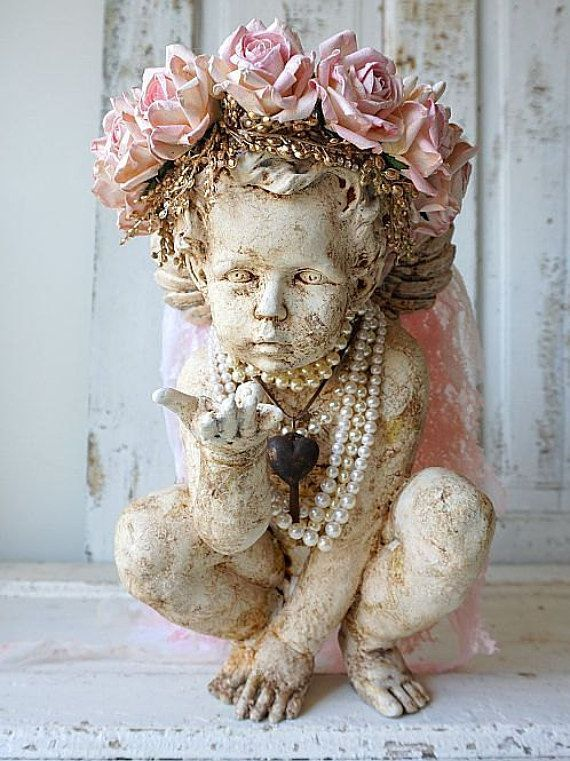 Cherub statue adorned pink rose crown shabby cottage chic distressed ornate angel pearls and heart adornments home decor anita spero design
