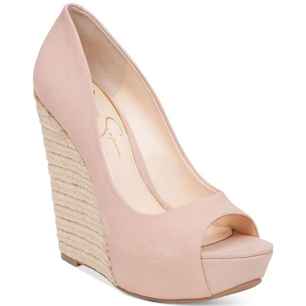 Jessica Simpson Bethani Peep-Toe Platform Wedge Pumps (£68) ❤ liked on Polyvore featuring shoes, pumps, nude blush, peep toe espadrilles, espadrilles shoes, espadrille pumps, nude peep-toe pumps and nude peep toe shoes