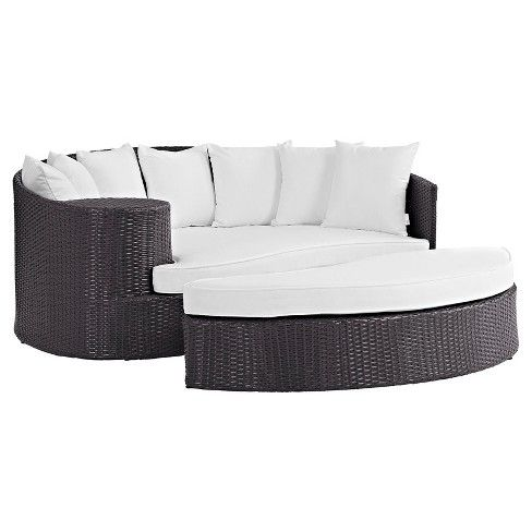 Make your outdoor space the ultimate place to sit back and relax with this Convene Outdoor Patio Daybed from Modway. This contemporary outdoor patio seating set easily rearranges depending on your needs — it has one curved couch that forms a half circle, with an end table and an ottoman that complete the circle. All pieces are lightweight and can be moved around to create the perfect seating arrangement for a party or get-together. Outfitted with incredibly durable Sunbrella fabric ...