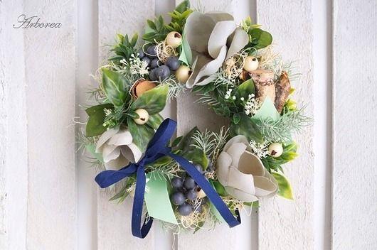 dodatki - dekoracje - wianki-Wianek kwiatowy z magnolią
