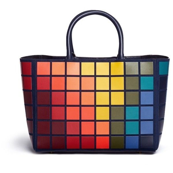 Anya Hindmarch 'Ebury Small Giant Pixel' patchwork suede tote (931.565 HUF) ❤ liked on Polyvore featuring bags, handbags, tote bags, anya hindmarch tote, suede totes, tote hand bags, patchwork tote and anya hindmarch