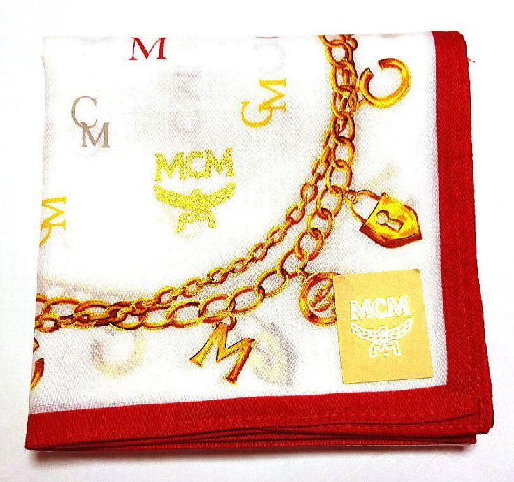 MCM Handkerchief hanky scarf bandana Pocket square White Cotton Auth New RARE #MCM #DesignerArtist
