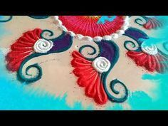 Simple COLOUR rangoli designs for margazhi - latest and beautiful kolam designs freehand by MAYA! - YouTube