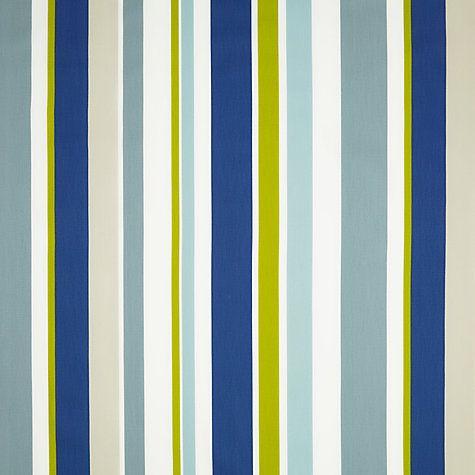 Buy little home at John Lewis Harrison Stripe Curtain, Blue / Green | John Lewis