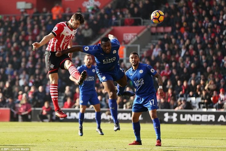 Jay Rodriguez rose above Wes Morgan to head the ball but could only direct it wide as Southampton took the early initiative