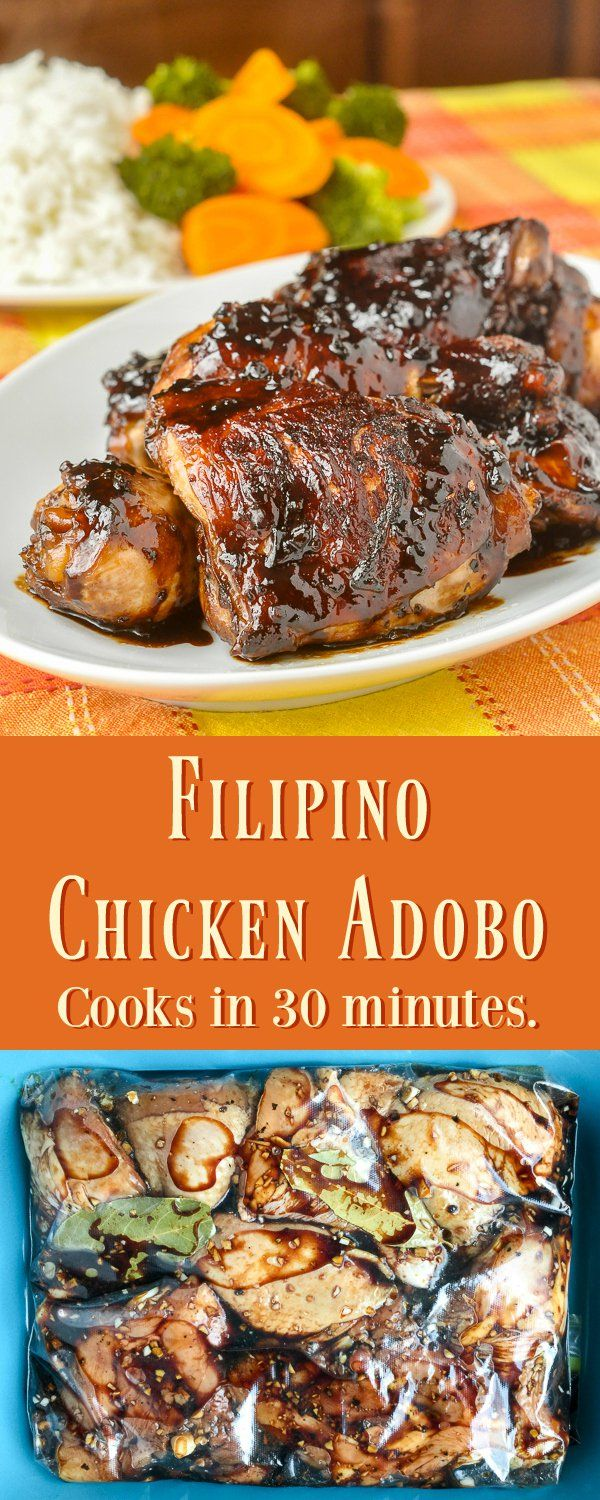 Chicken Adobo - this Filipino favourite is quick & easy to make using simple ingredients and a little bit of an unusual cooking method to produce one of the most deliciously tender and tasty chicken dishes I've ever tried.
