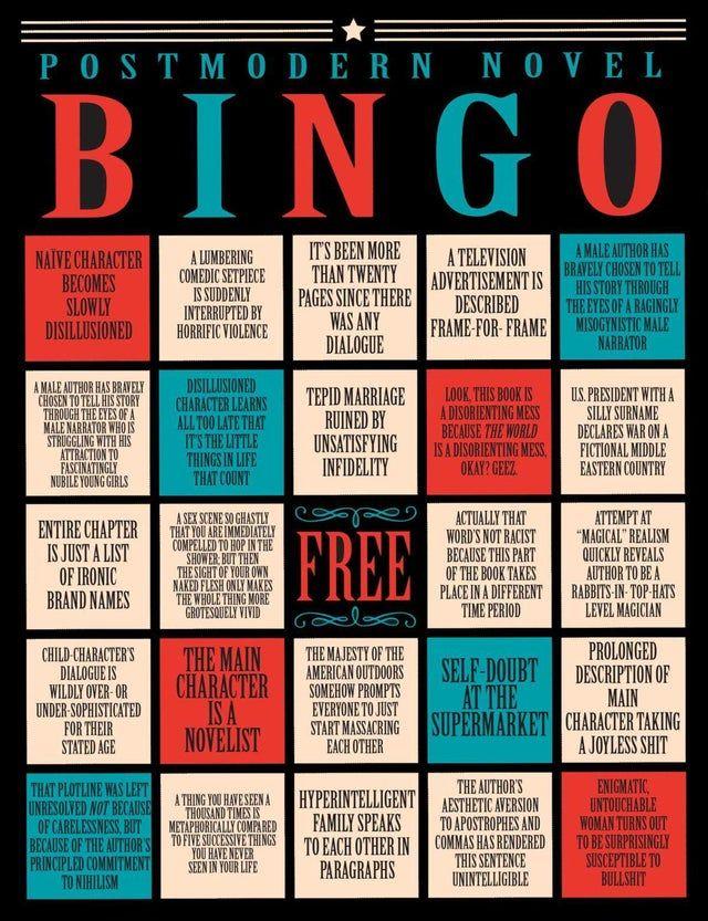 Postmodern Novel Bingo Bookscirclejerk In 2020 Postmodern Literature Literary Writing Modern Novel