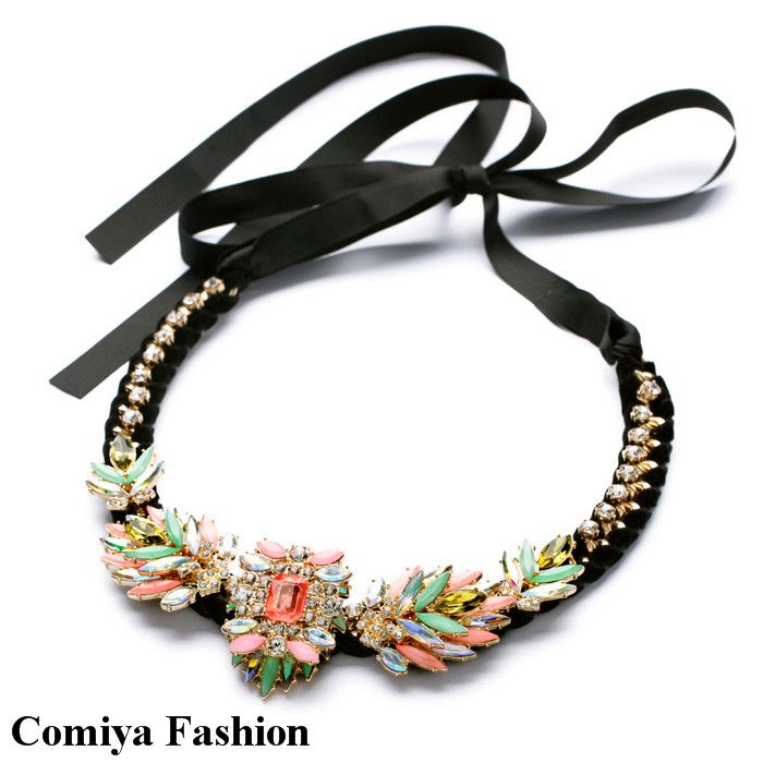 New 2014 accessories fashion brand topshop ribbon chain neon flower shourouk long necklace bijouterie aliexpress exo bijoux cc  US $16.59