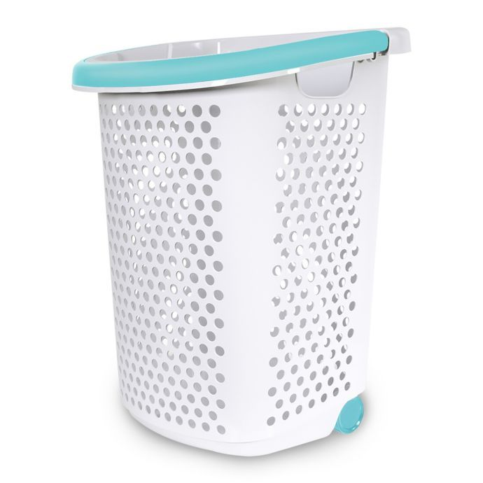 Home Logic 2 0 Bu Rolling Hamper In White Laundry Basket On